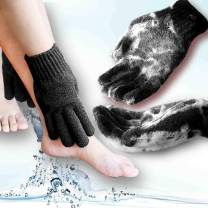 Home Spa HEAVY Exfoliating gloves Hydro full body wash to cleanse scrub glove - Shower & Bath - Deep clean dead skin and Improves blood circultion (1 pair Plain, Black)