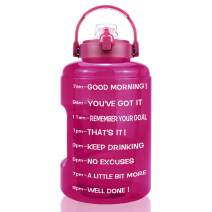 BuildLife 1 Gallon Water Bottle - 128 OZ Wide Mouth,Motivational Time Marker & Flip Lid,BPA Free Reusable Leak-Proof Water Jug for Sports Gym Fitness Outdoor