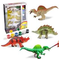 AINOLWAY 3D Painting Dinosaurs Arts and Crafts Decorate Your Own Dinosaur Figurines DIY Dinosaur Craft Kit Toys for Kids Ages 4 5 6 7 8