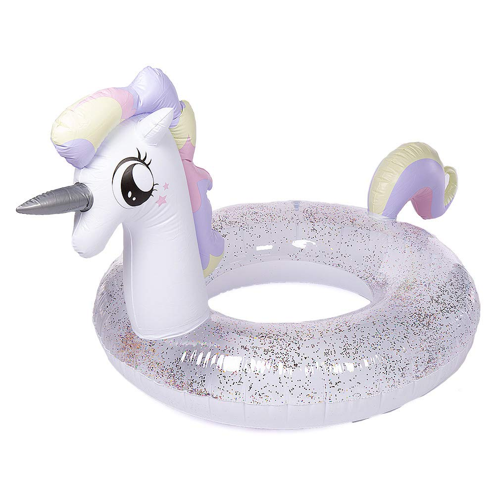 Giant Unicorn Swimming Pool Float - Happytime 2019 Unicorn Princess Inflatable Pool Float with Glitters Inflatable Lounge Raft Tube Swim Ring Summer Toys for Adults Toddlers