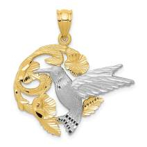 14k Two Tone Yellow Gold Hummingbird Pendant Charm Necklace Bird Fine Mothers Day Jewelry For Women Gifts For Her