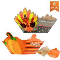 WEEPA Thanksgiving Party Supplies 8 Pcs Turkey Pumpkin Paper Bowls Disposable Heavy Duty Large Serving Bowls for Parties Snack Paper Food Bowls Tableware Party Candy Bowl