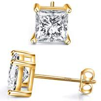 14k Gold Plated 925 Sterling Silver Stud Earrings 4 Prong Princess Cut Square Cubic Zirconia Slumlated Diamond Stud Earrings for Women Men Girl