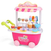 Geyiie Ice Cream Toy Cart Play Set for Kids Pretend Play Food - Educational Ice-Cream Trolley Truck Great Gift for Girls and Boys Ages 2 - 12 Years Old