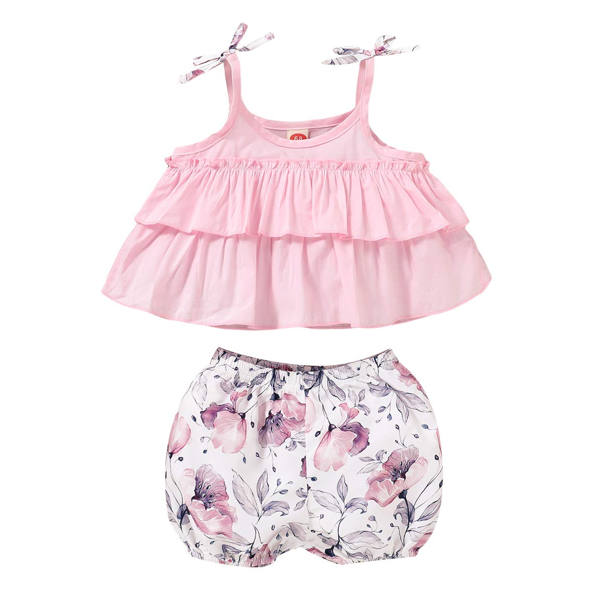 Toddler Baby Girls Summer Short Set Clothes Halter Ruffled Top Floral Shorts 2Pcs Outfits