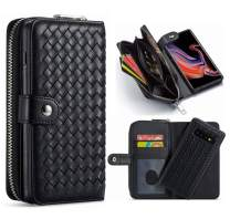 Hynice iPhone 11 Wallet Case, Women PU Leather Magnetic Detachable Case with Zipper Pocket Removable Shockproof Slim Back Cover for iPhone 11 6.1 inch (Weave-Black, iPhone 11)