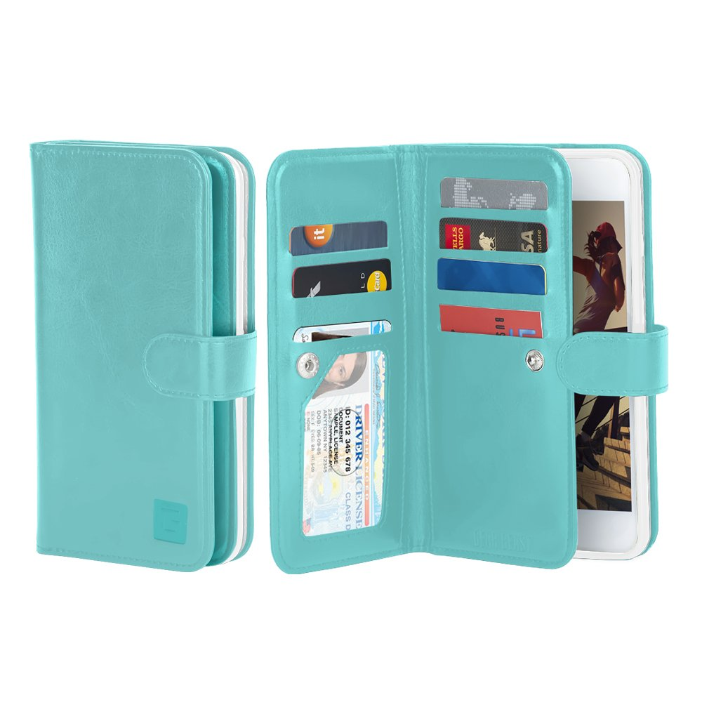 Gear Beast Flip Cover Dual Folio Case fits iPhone 8/7 Wallet Case Slim Protective Lychee PU Leather Case 7 Slot Card Holder Including ID Holder 2 Inner Pockets Stand Feature Wristlet (Turquoise)