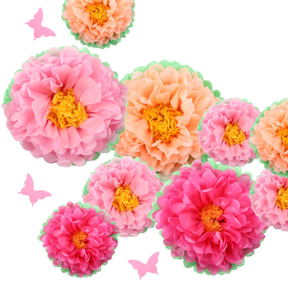 ZJHAI 13pcs Tissue Paper Flowers Chrysanth Flowers Set for Home Wall Decoration Birthday Party Kindergarten Decoration Bridal Shower