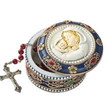 Fashioncraft, Baptism First Communion Christening Favors, Madonna and Child Rosary box - trinket box, Set of 35