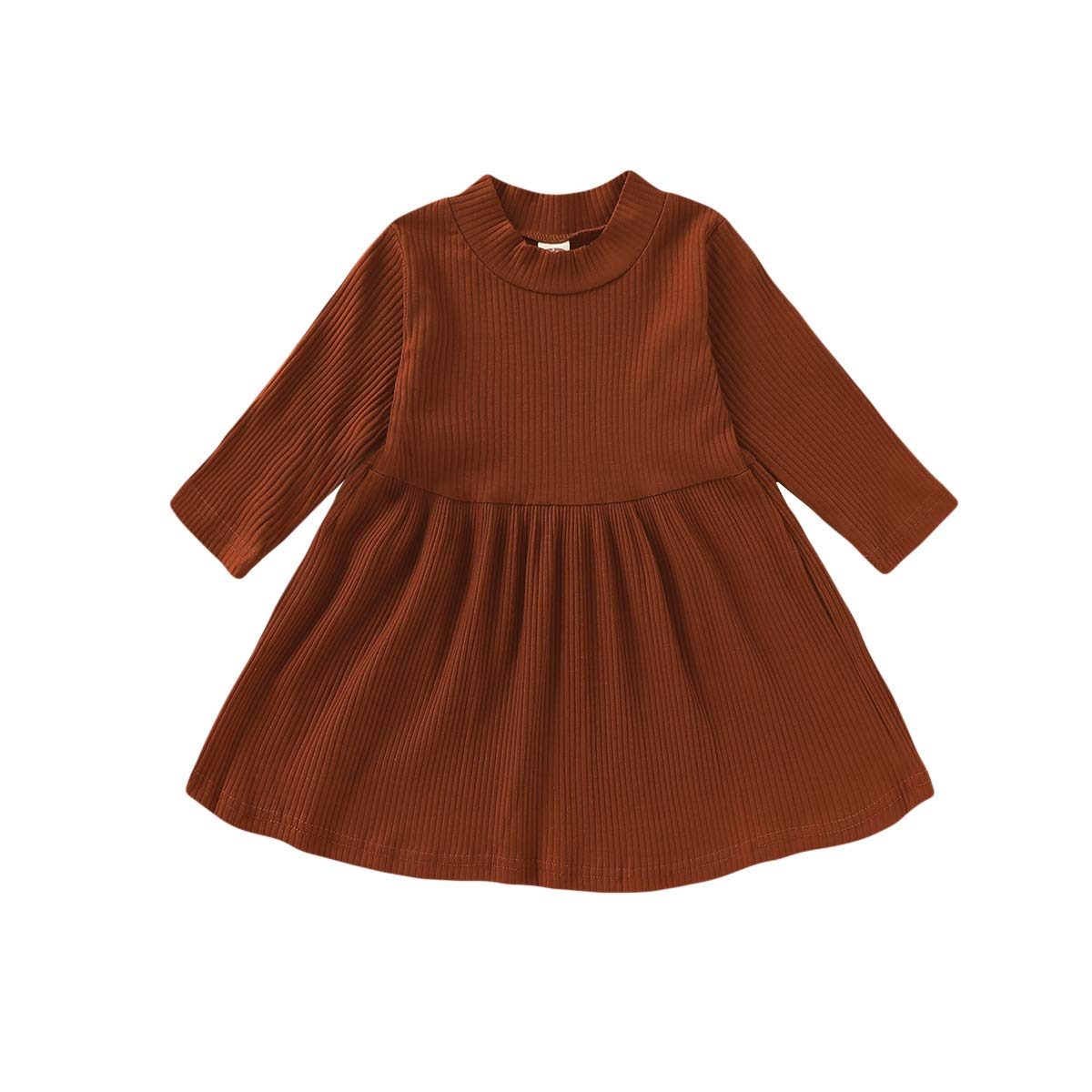 Viworld Toddler Kids Baby Girl Solid Dress Ruffle Long Sleeve Tops Cotton