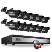 ZOSI 16CH 1080P DVR 12pcs Waterproof Cameras Security System & 2TB Hard Drive - with Motion Detection 120ft Night Vision for Outdoor Indoor Office Home Security