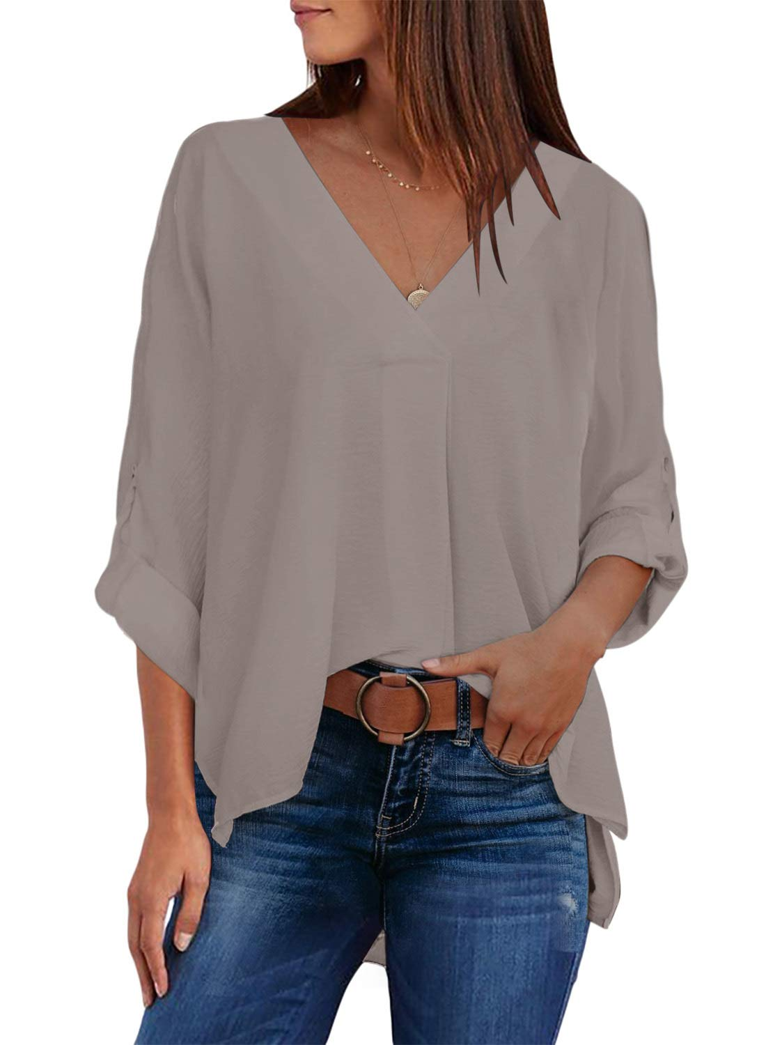 Elapsy Womens Casual 3/4 Sleeve High Low Hem Shirt V Neck Loose Blouses and Tops