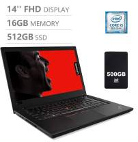 "Lenovo Thinkpad T480 14"" Full HD FHD (1920x1080) Business Laptop (Intel Quad-Core i5-8250U, 16GB DDR4 RAM, 512GB SSD) Backlit, Fingerprint, Thunderbolt 3 Type-C, WiFi, Windows 10 Pro"