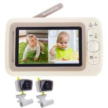 Moonybaby Split 30 Baby Monitor Split Screen with 2 Cameras, Extended 12hrs Battery Life, Wide View, Large Screen, Long Range, Night Vision, Temperature Monitoring, 2 Way Talk Back, Power Saving
