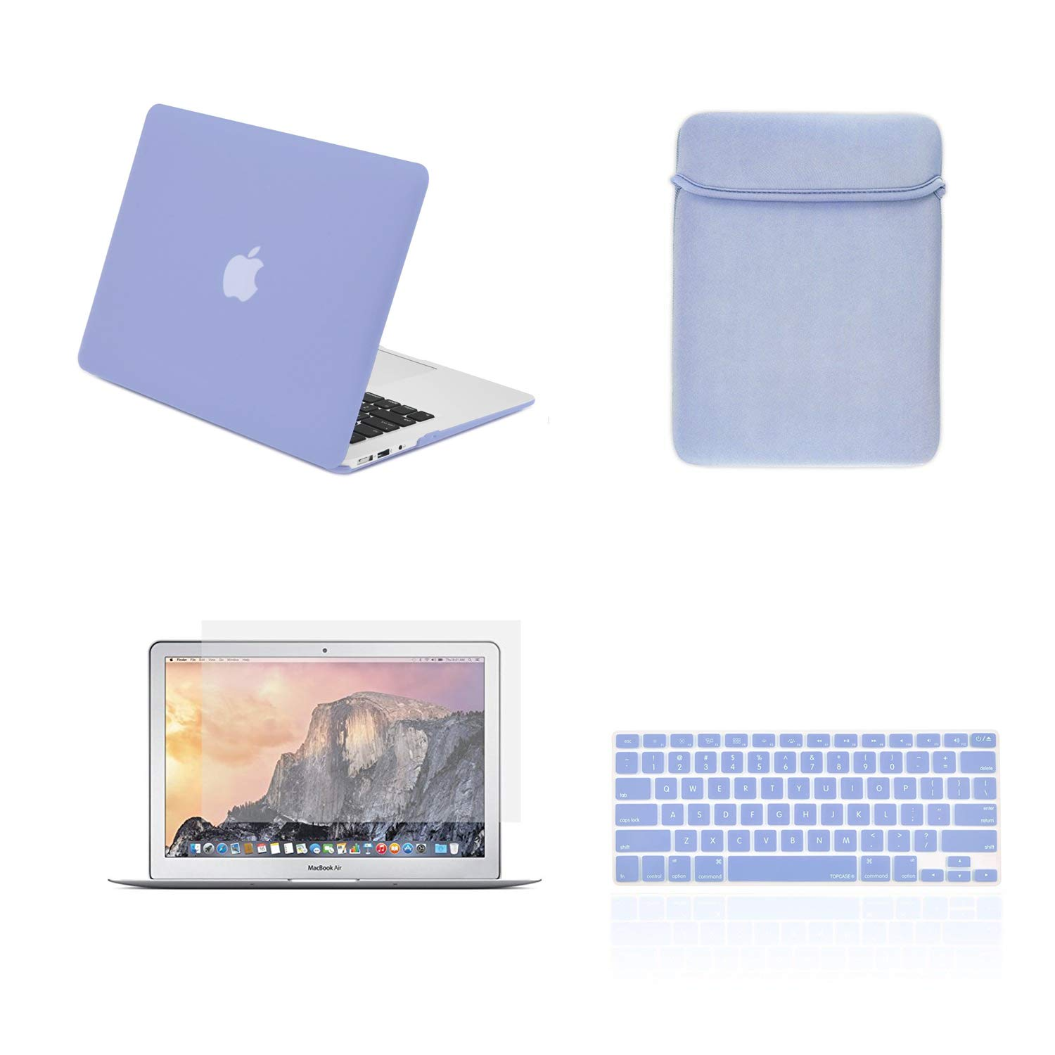 """TOP CASE - 4 in 1 Essential Bundle Hard Case, Keyboard Cover, Sleeve Bag, Screen Protector Compatible MacBook Air 13"""" Model: A1466 & A1369 (Older Version, Release 2010-2017) - Serenity Blue"""