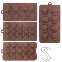 YuCool Non Stick 4pc Candy Mold, Silicone Baking Mold for Chocolate Cake Jelly Ice Cube Soap - Forest Theme Happy Bear, Lion, Hippo & Bee, Butterfly, Beatles - Tulip Rose Sunflower Lotus Shapes
