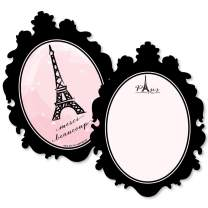 Paris, Ooh La La - Shaped Thank You Cards - Paris Themed Baby Shower or Birthday Party Thank You Note Cards with Envelopes - Set of 12