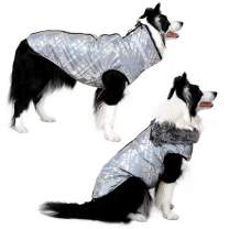 Dog Jacket - Cozy Snow-Proof Wind-Proof Geometric Winter Dog Coat with Adjustable Furry Collar, Pet Vest Reflective Dog Jackets for Small Medium Large Dogs, Sturdy Leash D Ring for Walking, Hiking