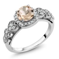 Gem Stone King 0.92 Ct Round Peach Morganite 925 Sterling Silver Engagement Ring (Available 5,6,7,8,9)