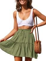 Pepochic Womens Plus Size Flare Flowy Short Skirt High Waist A Line Pleated Skirt