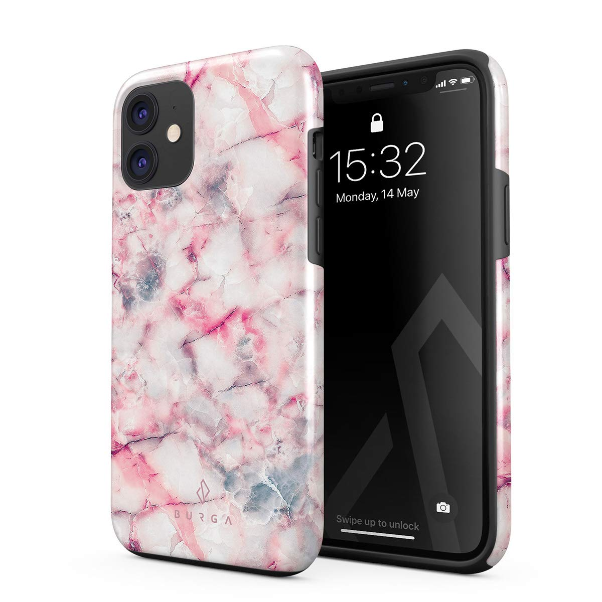 BURGA Phone Case Compatible with iPhone 11 - Raspberry Jam Pink Candy Marble Cute Case for Women Heavy Duty Shockproof Dual Layer Hard Shell + Silicone Protective Cover