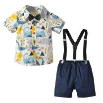 Toddler Boys Clothing Set Gentleman Outfits Suits, Little Boy Short Sleeve Shirt+Bib Pants+Bowtie