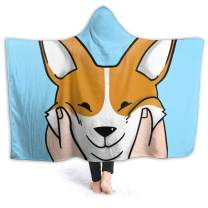 321DESIGN Corgi Squishy Cheeks Funny Dog Gift Flannel Fleece Wearable Hooded Blanket for Adults, Teen, Kids, Cozy Throw for Sofa, Travel (Medium 50x60 in)