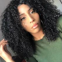 Chantiche Soft Curly 360 Lace Frontal Wig with Baby Hair and High Ponytail Brazilian Virgin Human Hair Customized 360 Lace Full Wigs with 150% Heavy Density for Women 10inches Natural Color