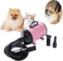 NEWTRY Pets Hair Force Dryer Stepless Adjustable Speed Temperature High Velocity Dog Cat Hair Dryer Professional Pet Grooming Blower 2000W Reduce Noise Heat Insulation (Pink)