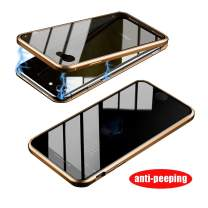 HikerClub Magnetic Adsorption Case Full Body Protection Built-in Screen Protector Front and Back Double Sided Glass Anti Scratch Luxury Metal Bumper Case (Gold/Privacy, iPhone 6 / 6S)