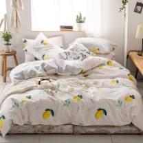 MKXI Yellow Lemon Bedding Set Queen 100% Cotton 1 Duvet Cover 2 Pillowcases Kids Home Collection Fruits Theme Cartoon Pattern for Boys Girls Teens