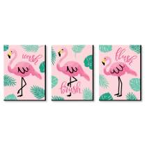 Big Dot of Happiness Pink Flamingo - Kids Bathroom Rules Wall Art - 7.5 x 10 inches - Set of 3 Signs - Wash, Brush, Flush