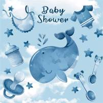 Baocicco 5x5ft Blue Big Whale Boy Baby Shower Party Backdrop Blue Children Baby Toys Baby Items Decoration Photography Blue Sky Background Welcome Decoration Photo Portrait Studio Props Booth