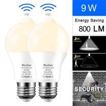 Motion Sensor Light Bulbs, Wudiac 9W (80-Watt Equivalent) E26 Motion Activated Dusk to Dawn Security Light Bulb Outdoor/Indoor for Front Door Porch Garage Basement Hallway Closet (Warm White 2pack)