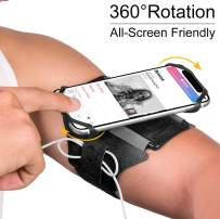 VUP Running Armband for iPhone 11 Pro Max X XR XS 8 7 6 6s Plus,Galaxy S10 S9 S8 Plus, Note 9/8/5/4,Google Pixel 3/2 XL,360°Rotatable with Key Holder Phone Armband for Hiking Biking Walking(Black)