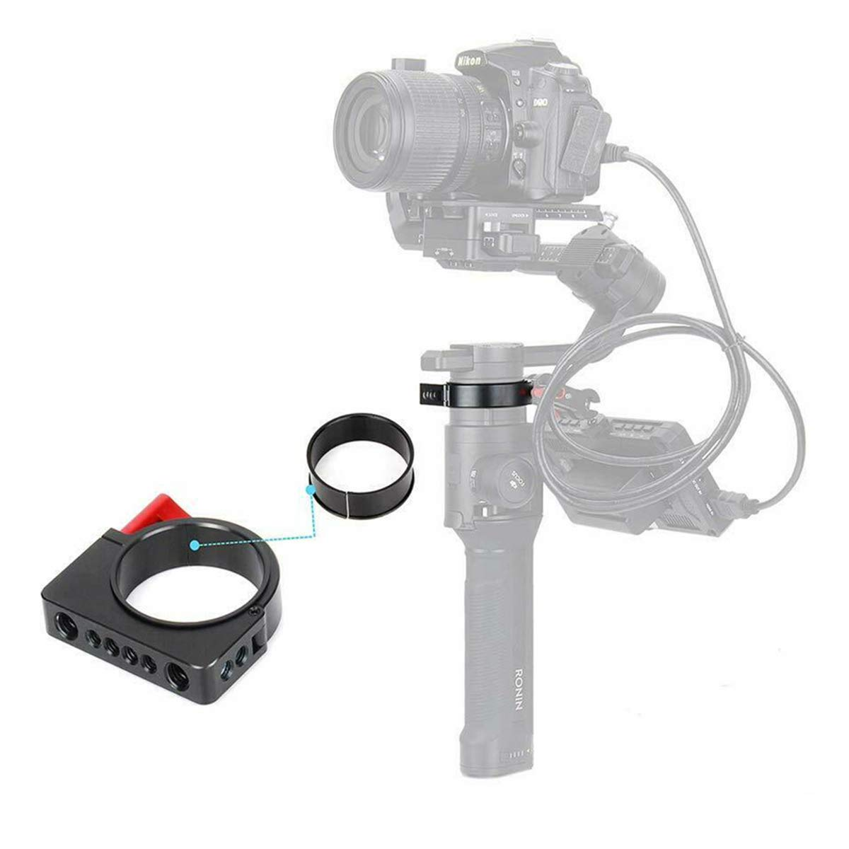 """Dazzne Aluminum Alloy Ronin S Extension Adapter Ring Video Monitor Mounting with 1/4"""" and 3/8"""" Screws Applicable for Camera Microphone Monitor LED Video Light"""