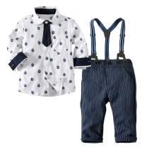 Happy Cherry Baby Boys Gentleman Bowtie Suits Formal Short/Long Sleeve Overall Set