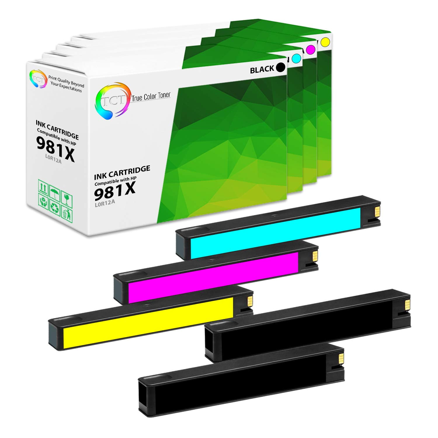 TCT Compatible Ink Cartridge Replacement for HP 981X High Yield Works with HP PageWide Enterprise Color 556dn, MFP 586z Printers (Black L0R12A, Cyan L0R09A, Magenta L0R10A, Yellow L0R11A) - 5 Pack