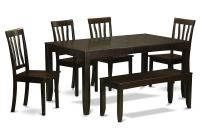 6 Pc Kitchen Table with bench-Table with Leaf and 4 Dining Chairs and Bench