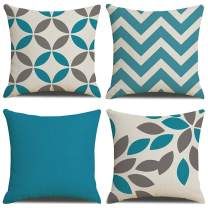 Jasfura Set of 4 Spring Blue Geometry Throw Pillow Covers 18x18 Inch Decorative Couch Pillow Cases Cotton Linen Case Square Cushion Covers for Living Room, Bed, Sofa and Car (Blue)