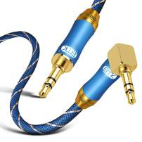 90 Degree Right Angle Aux Cable - [24K Gold-Plated,Sound Quality]EMK Audio Stereo Male to Male Cable for Laptop, Tablets, MP3 Players,Car/Home Aux Stereo, Speaker or More (2Ft/0.6Meters)