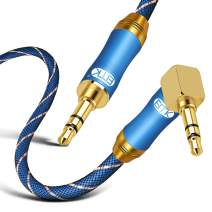 90 Degree Right Angle Aux Cable - [24K Gold-Plated,Sound Quality]EMK Audio Stereo Male to Male Cable for Laptop, Tablets, MP3 Players,Car/Home Aux Stereo, Speaker or More (16Ft/5Meters)