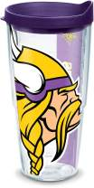 Tervis 1102238 NFL Minnesota Vikings Colossal Tumbler with Wrap and Royal Purple Lid 24oz, Clear