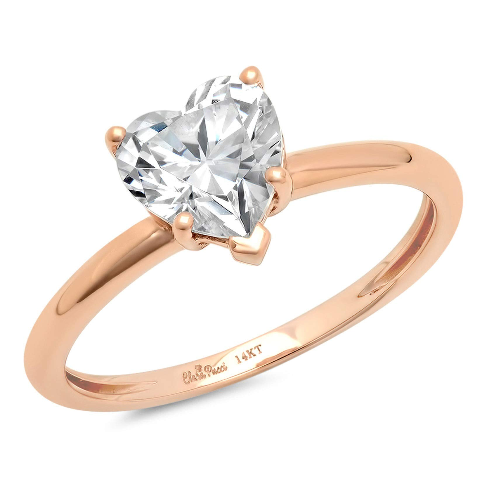 0.9ct Brilliant Heart Cut Solitaire Highest Quality Lab Created White Sapphire Ideal VVS1 D 5-Prong Engagement Wedding Bridal Promise Anniversary Ring Solid Real 14k Rose Gold for Women