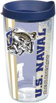 Tervis 1229584 Navy Midshipmen College Pride Tumbler with Wrap and Navy Lid 16oz, Clear