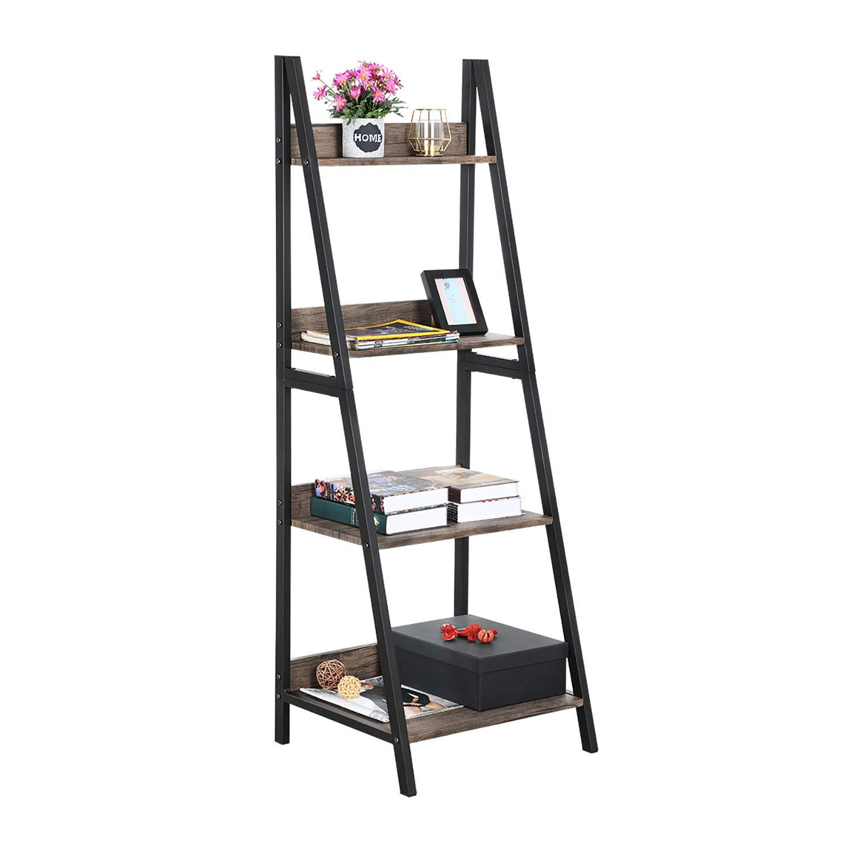 GreenForest Ladder Shelf 4 Tier Bookcase Metal Frame Bookshelf Home Office Storage Rack Shelf Plant Stand, Walnut