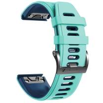 NotoCity Compatible with Fenix 6x Watchbands Silicone Sport Watch Strap for Fenix 5X/5X Plus/Fenix 6X/Fenix 6X Pro/Fenix 3/Fenix 3 HR/Tactix/Descent MK1/D2 Delta PX/D2 Charlie Smartwatch. (Teal)