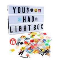 Cinema Light Box,Delicacy A4 Size Cinematic Light Box Light Up LED Letter Box with Total 189 Characters and Colorful Symbols(104 Letters and 85 Symbols)