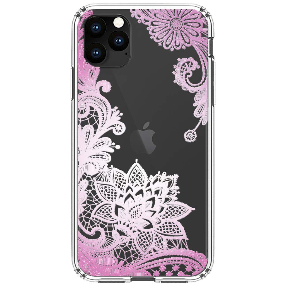 """HUIYCUU Compatible with iPhone 11 Pro Case 5.8"""", Anti-Slip Cute Purple Clear Design Pattern Funny Slim Fit Soft Shockproof Bumper Girl Women Cover Case for iPhone 11Pro / XI Pro, Lace Flower"""