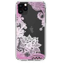 "HUIYCUU Compatible with iPhone 11 Pro Case 5.8"", Anti-Slip Cute Purple Clear Design Pattern Funny Slim Fit Soft Shockproof Bumper Girl Women Cover Case for iPhone 11Pro / XI Pro, Lace Flower"